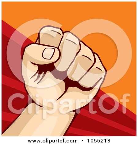 Royalty-Free Vector Clip Art Illustration of a Fist On Red And Orange - 1 by Any Vector
