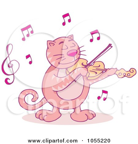 Royalty-Free Vector Clip Art Illustration of a Pink Violinist Cat by Any Vector