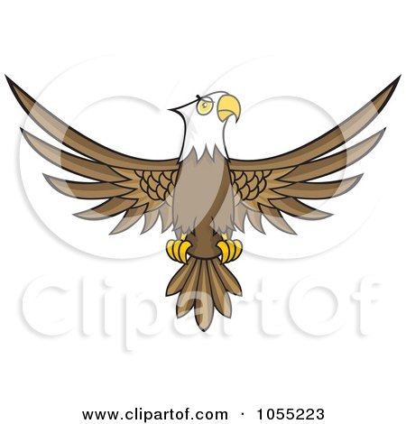 Royalty-Free Vector Clip Art Illustration of a Bald Eagle With Spread Wings by Any Vector