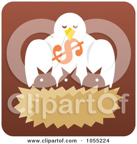 Royalty-Free Vector Clip Art Illustration of a Bird Dropping A Dollar Symbol Into A Nest by Any Vector