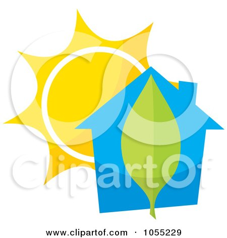 Royalty-Free Vector Clip Art Illustration of a Blue House With A Leaf And Sun by Any Vector