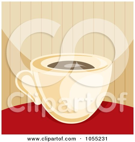 Royalty-Free Vector Clip Art Illustration of a Coffee Cup On A Red Table by Any Vector