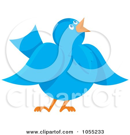 Royalty-Free Vector Clip Art Illustration of a Communicating Blue Bird by Any Vector
