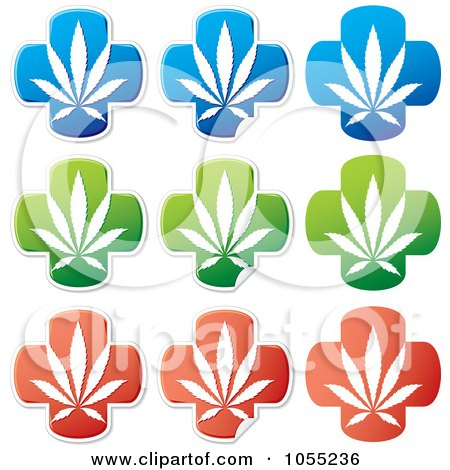 Royalty-Free Vector Clip Art Illustration of a Digital Collage Of Medical Marijuana Stickers by Any Vector