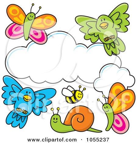 Royalty-Free Vector Clip Art Illustration of Happy Animals And Bugs Around A Cloud by Any Vector
