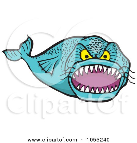 Royalty-Free Vector Clip Art Illustration of a Mean Toothy Fish by Any Vector