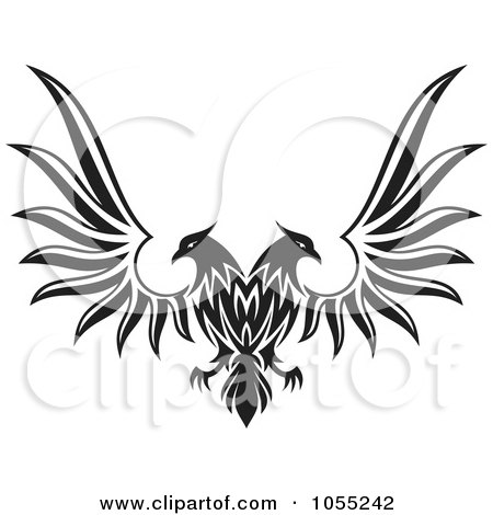 Royalty-Free Vector Clip Art Illustration of a Black And White Double Headed Eagle With Spread Wings by Any Vector