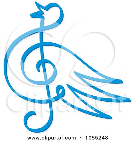 Royalty-Free Vector Clip Art Illustration of a Blue Bird Music Note by Any Vector