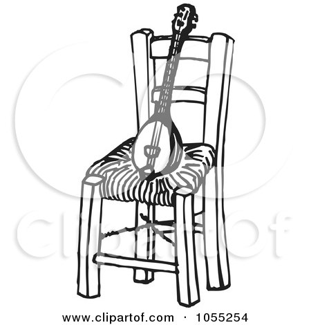 Royalty-Free Vector Clip Art Illustration of a Black And White Baglamas Resting On A Chair by Any Vector