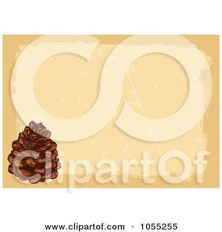 Royalty-Free Vector Clip Art Illustration of a Pine Cone Over Grungy Paper by Any Vector