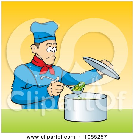 Royalty-Free Vector Clip Art Illustration of a Chef Discovering A Cell Phone In His Soup by Any Vector