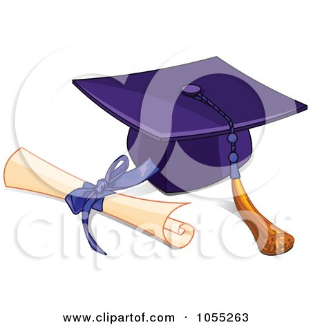 Royalty-Free Vector Clip Art Illustration of a Graduation Cap And Tassel With A Diploma by Pushkin