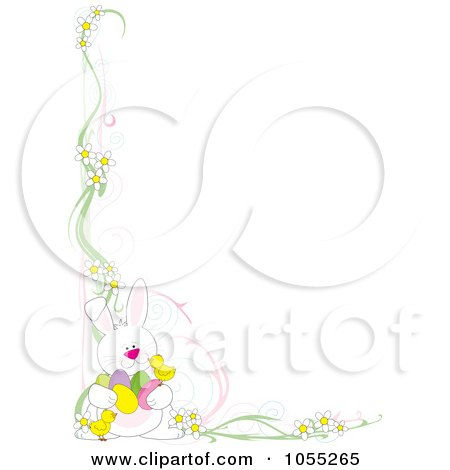 Royalty-Free Vetor Clip Art Illustration of an Easter Corner Border Of Daisies, Chicks And A Rabbit Holding Eggs by Maria Bell