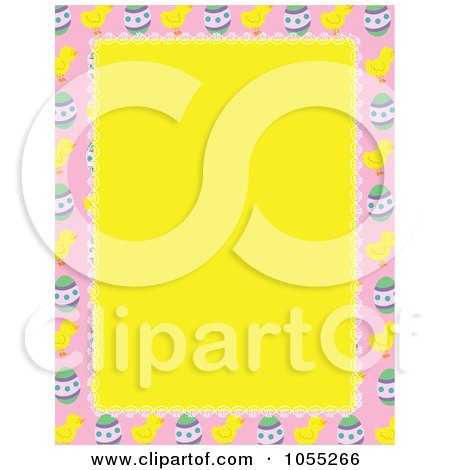 Royalty-Free Vetor Clip Art Illustration of an Easter Border Of Eggs And Chicks Around Yellow Copyspace by Maria Bell