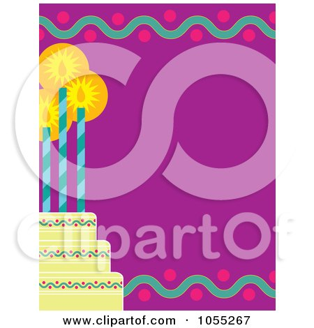 Royalty-Free Vetor Clip Art Illustration of a Birthday Frame Of A Tiered Cake With Three Candles On Purple by Maria Bell