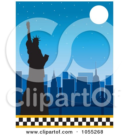 Royalty-Free Vetor Clip Art Illustration of a Silhouetted Statue Of Liberty And New York Skyline Under A Full Moon, With A Lower Taxi Border by Maria Bell