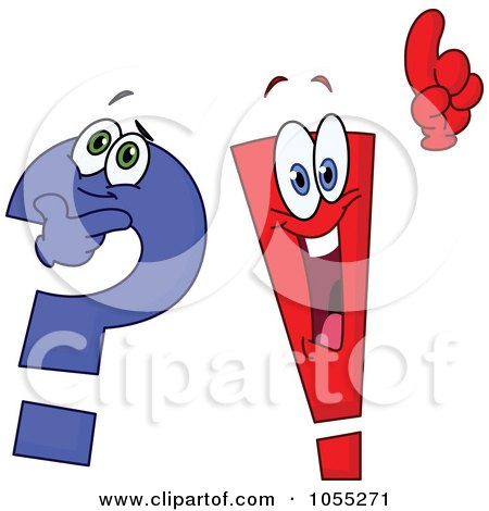 Royalty-Free Vector Clip Art Illustration of a Digital Collage Of Question Mark And Exclamation Point Characters by yayayoyo