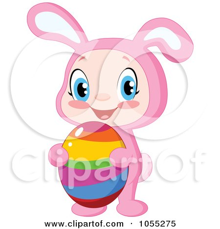Royalty-Free Vector Clip Art Illustration of an Easter Baby In A Bunny Costume And Holding An Egg by yayayoyo