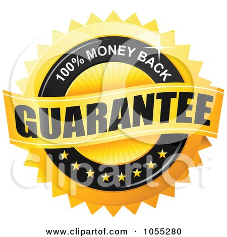 Royalty-Free Vector Clip Art Illustration of a Shiny Golden 100 Percent Money Back Guarantee Seal by TA Images