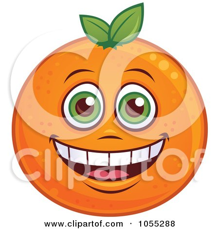 Royalty-Free Vector Clip Art Illustration of a Happy Orange Characters by John Schwegel