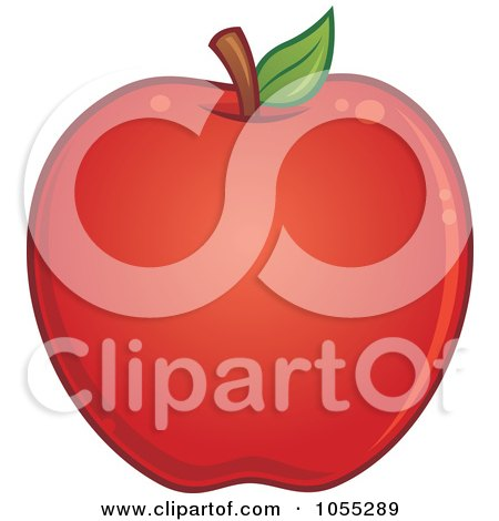 Royalty-Free Vector Clip Art Illustration of a Round Red Apple by John Schwegel