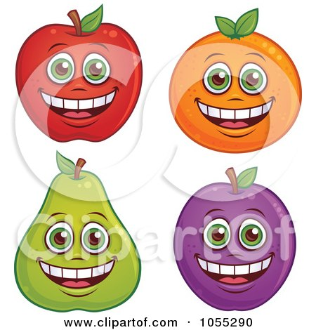 Royalty-Free Vector Clip Art Illustration of a Digital Collage Of Happy Apple, Orange, Pear And Plum Characters by John Schwegel