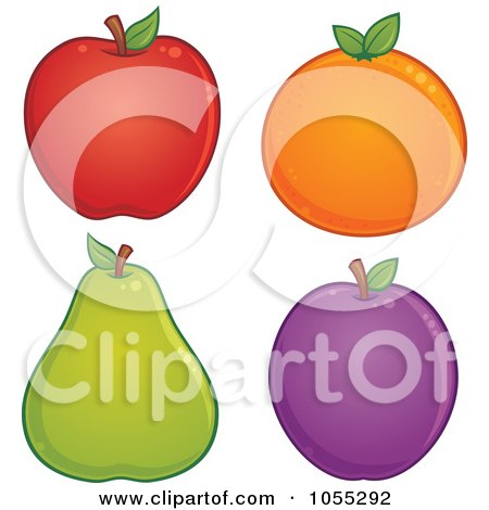 Royalty-Free Vector Clip Art Illustration of a Digital Collage Of An Apple, Orange, Pear And Plum by John Schwegel