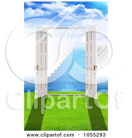 Royalty-Free Clip Art Illustration of 3d Open French Doors Leading To Stairs In Another Dimension by MacX
