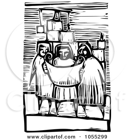 Black And White Woodcut Styled Builder Viewing Plans Posters, Art Prints