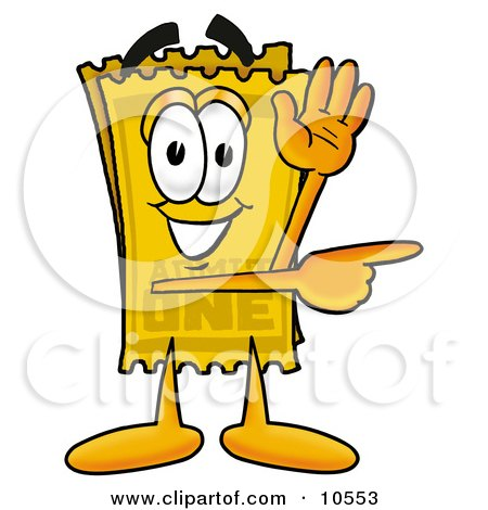 Clipart Picture of a Yellow Admission Ticket Mascot Cartoon Character Waving and Pointing by Toons4Biz