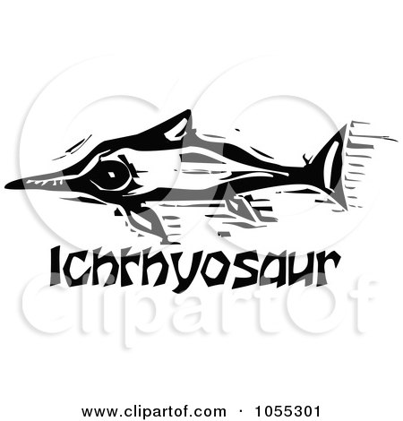 Royalty-Free Vector Clip Art Illustration of a Black And White Woodcut Styled Ichthyosaur Dinosaur by xunantunich