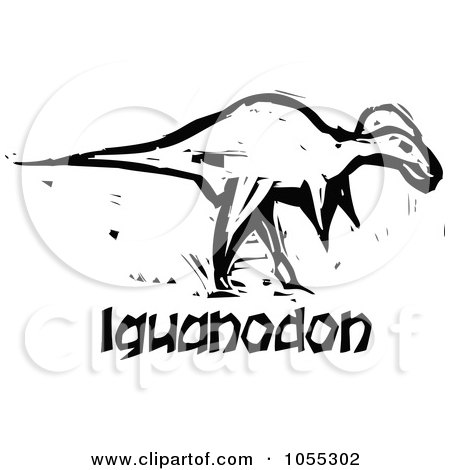 Royalty-Free Vector Clip Art Illustration of a Black And White Woodcut Styled Iguanadon Dinosaur by xunantunich