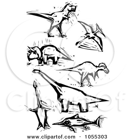Royalty-Free Vector Clip Art Illustration of a Digital Collage Of Black And White Woodcut Styled Dinosaurs by xunantunich