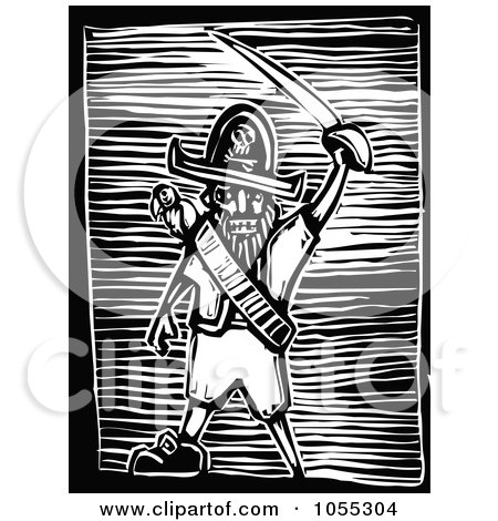 Royalty-Free Vector Clip Art Illustration of a Black And White Woodcut Styled Pirate Holding A Sword by xunantunich