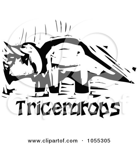 Royalty-Free Vector Clip Art Illustration of a Black And White Woodcut Styled Triceratops Dinosaur by xunantunich