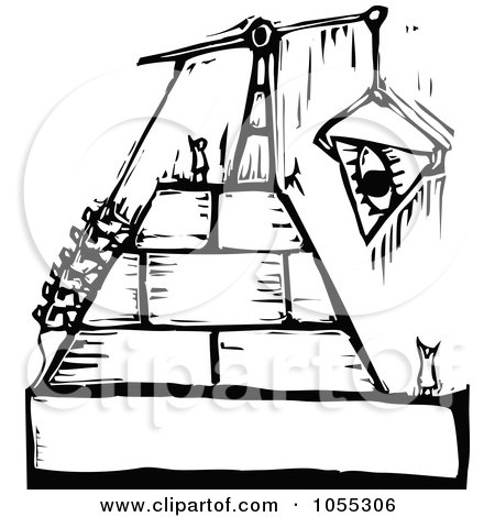 Royalty-Free Vector Clip Art Illustration of Black And White Woodcut Styled People Building A Pyramid by xunantunich