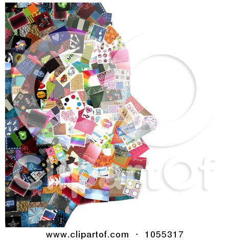 Royalty-Free Clip Art Illustration of a Woman's Facial Profile Composed Of Pictures - 1 by NL shop