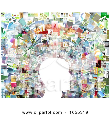 Royalty-Free Clip Art Illustration of a White Profiled Face Against A Collage Of Pictures - 2 by NL shop