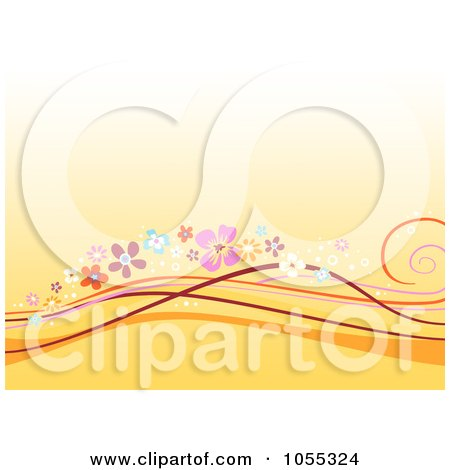 Royalty-Free Clip Art Illustration of an Orange Background Of Floral Waves by NL shop