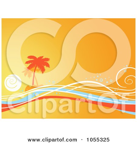 Royalty-Free Clip Art Illustration of an Orange Tropical Island And Waves Background by NL shop