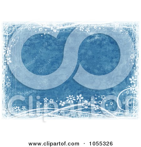 Royalty-Free Clip Art Illustration of a Grungy Blue Background With Vines And Flowers by NL shop