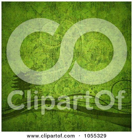 Royalty-Free Clip Art Illustration of a Green Grunge Textured Tree And Swirl Christmas Background by NL shop