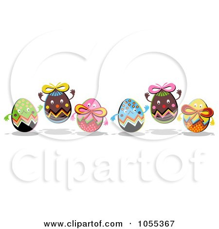 Royalty-Free Clip Art Illustration of Six Happy Easter Eggs by NL shop