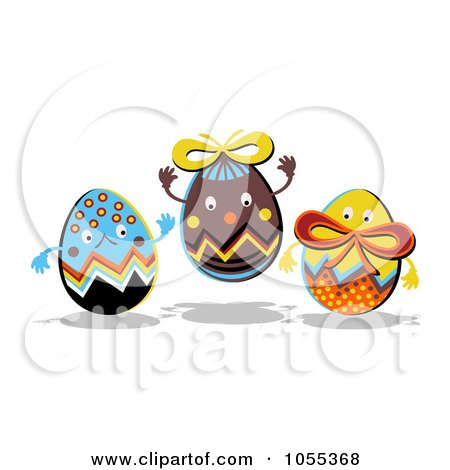 Royalty-Free Clip Art Illustration of Three Happy Easter Eggs by NL shop