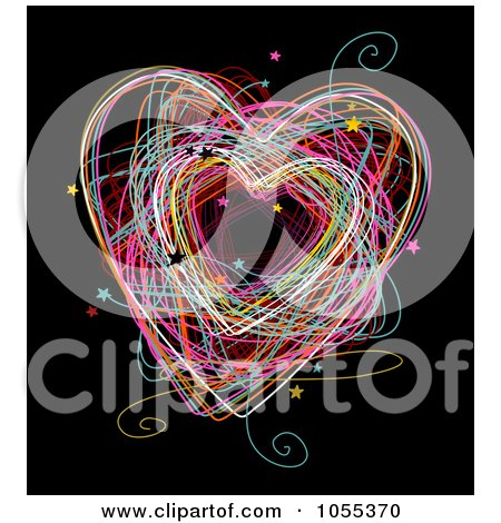 Royalty-Free Clip Art Illustration of a Colorful Heart Doodle With Stars On Black by NL shop