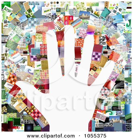 Royalty-Free Clip Art Illustration of a Background Of A Hand Over A Collage Of Of Pictures On White by NL shop
