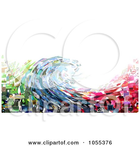 Royalty-Free Clip Art Illustration of a Background Of A Wave Collage Of Pictures On White by NL shop