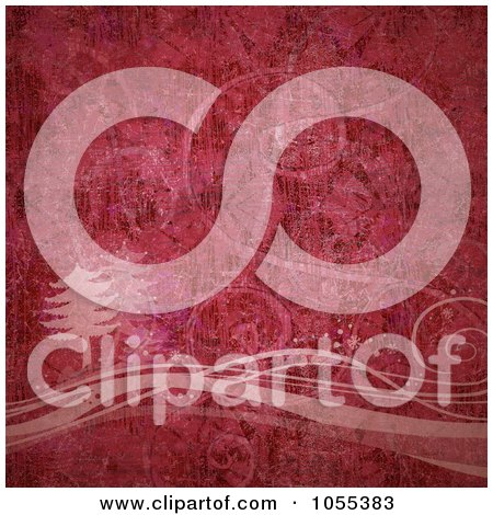 Royalty-Free Clip Art Illustration of a Red Grunge Textured Tree And Swirl Christmas Background by NL shop