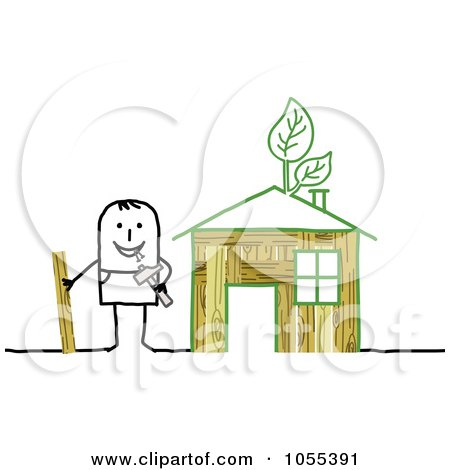 Royalty-Free Vector Clip Art Illustration of a Stick Man Building An Eco Friendly House by NL shop