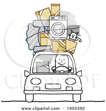 Royalty-Free Vector Clip Art Illustration of a Stick Man With Furniture, Cat And Boxes On The Roof Of His Car by NL shop